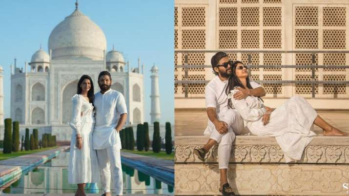 Allu Arjun-Sneha Reddy have a good time tenth marriage ceremony anniversary at Taj Mahal| PICS
